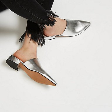 http://www.riverisland.com/women/shoes--boots/shoes/silver-metallic-leather-slip-on-mules-695343
