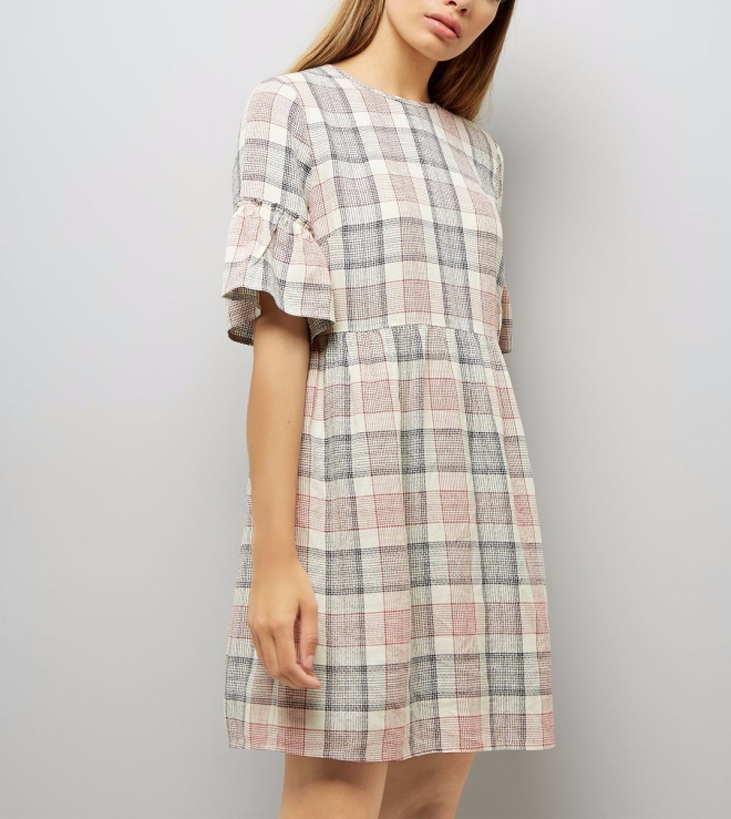 white-check-frill-sleeve-tie-back-smock-dress